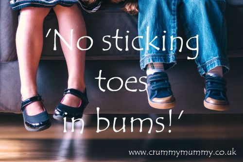 'No sticking toes in bums!'