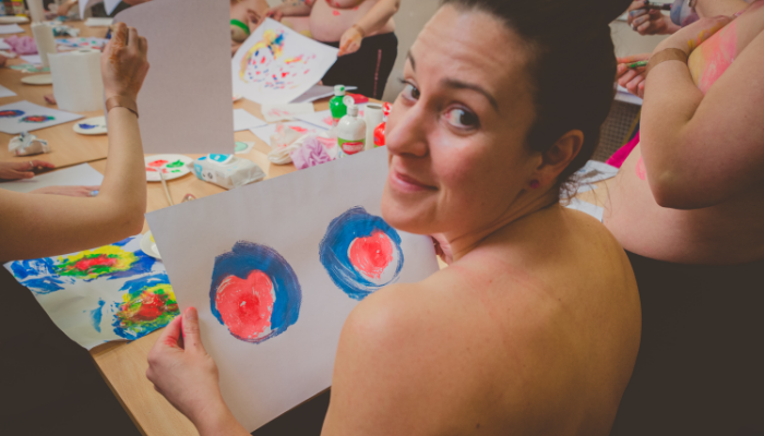 painting with my boobs
